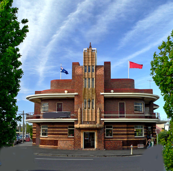 Clifton Hill- front on this huge art deco building- some photoshop removal